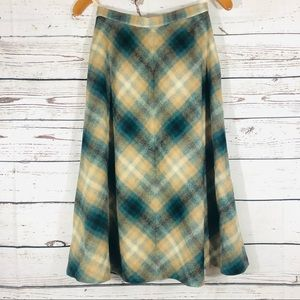 Vintage Plaid Wool A-Line Skirt Made in England XS